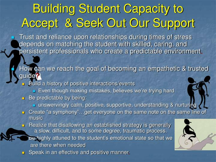 Building Student Capacity to Accept  & Seek Out Our Support