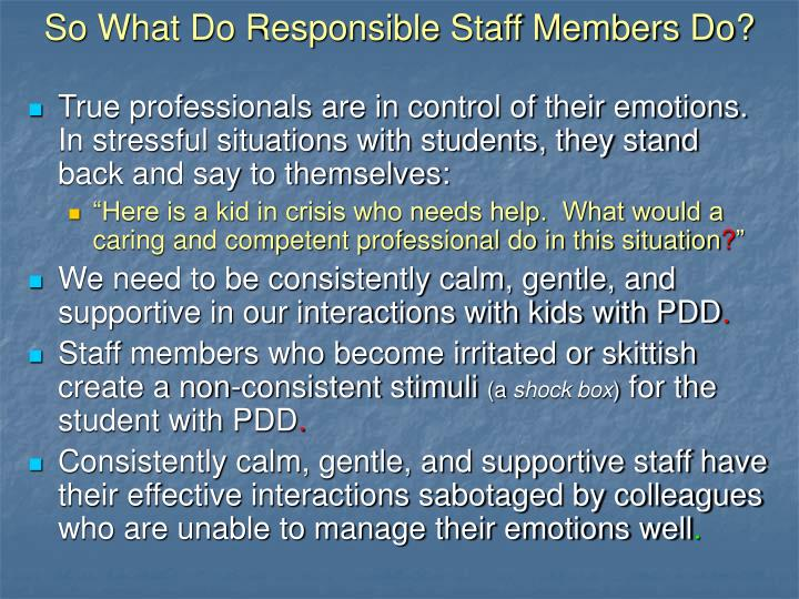 So What Do Responsible Staff Members Do?