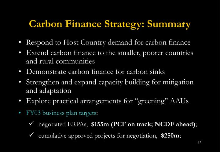 Carbon Finance Strategy: Summary