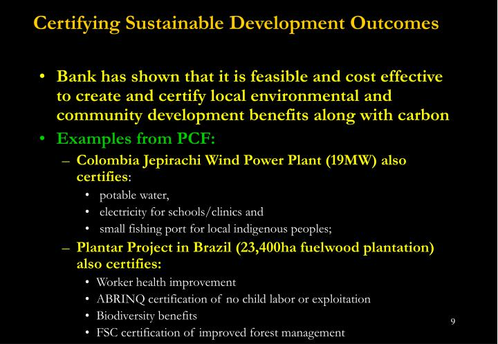 Certifying Sustainable Development Outcomes
