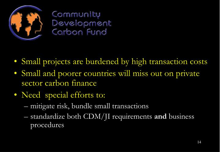 Small projects are burdened by high transaction costs
