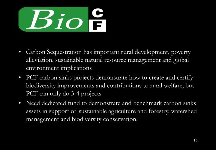 Carbon Sequestration has important rural development, poverty alleviation, sustainable natural resource management and global environment implications