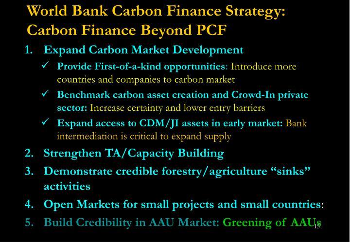 World Bank Carbon Finance Strategy: