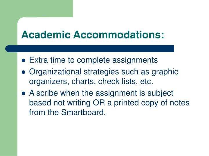 Academic Accommodations: