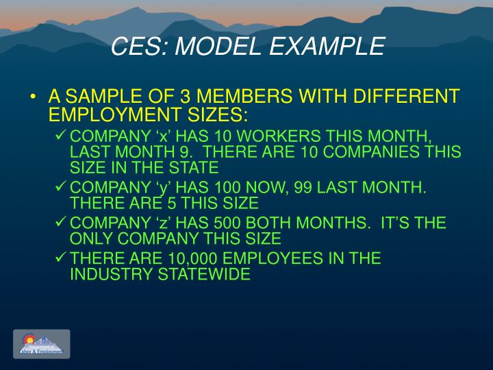 CES: MODEL EXAMPLE
