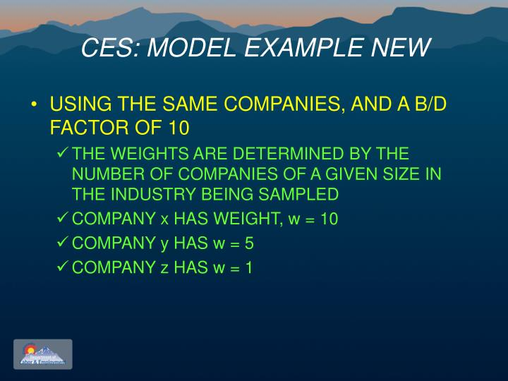 CES: MODEL EXAMPLE NEW