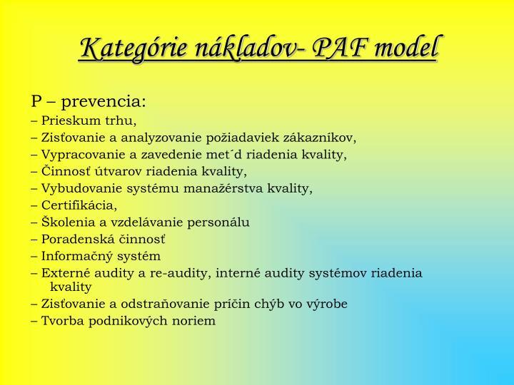 Kategórie nákladov- PAF model