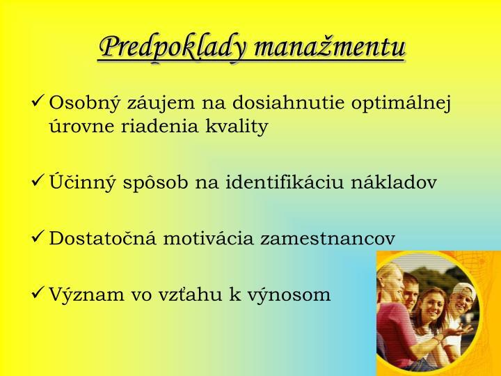 Predpoklady manažmentu
