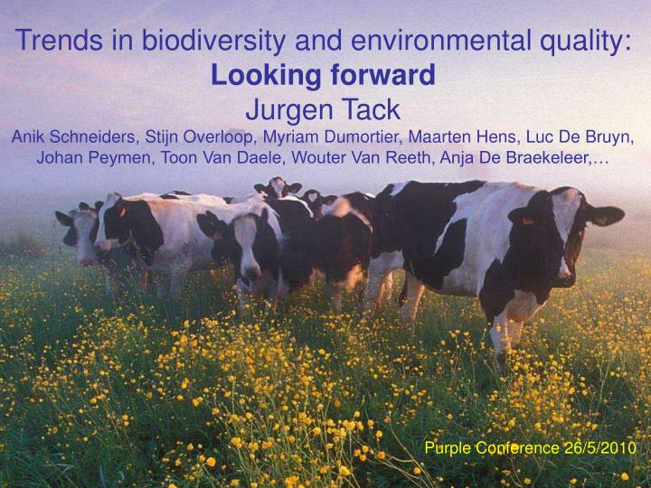 Trends in biodiversity and environmental quality: