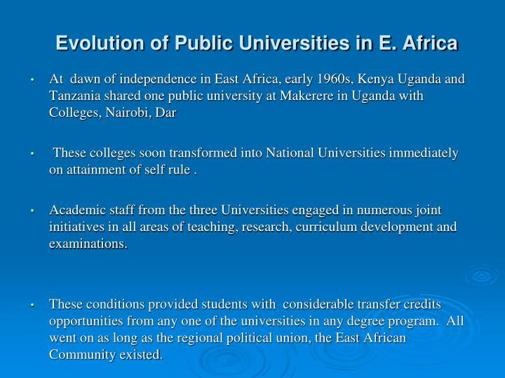 Evolution of Public Universities in E. Africa