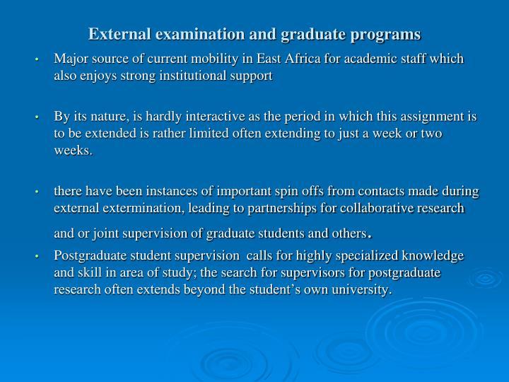 External examination and graduate programs