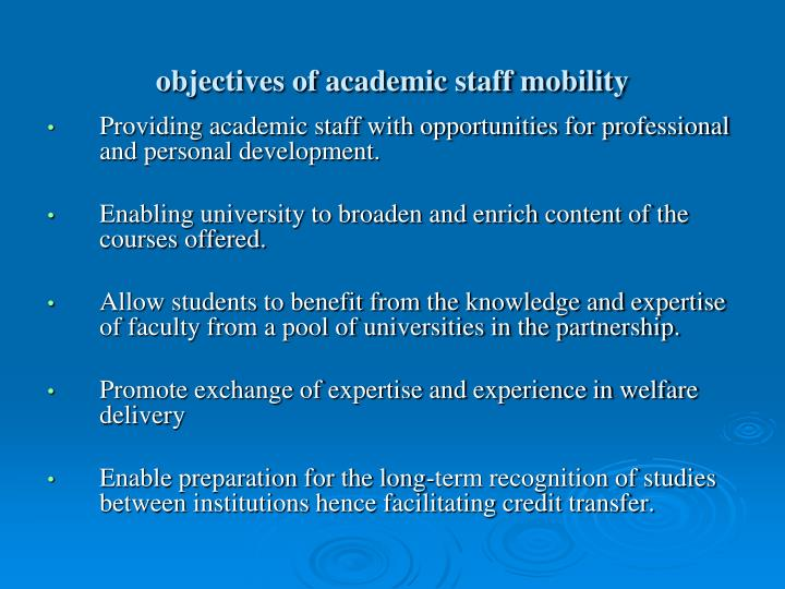 objectives of academic staff mobility
