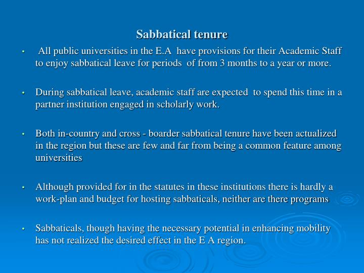 Sabbatical tenure