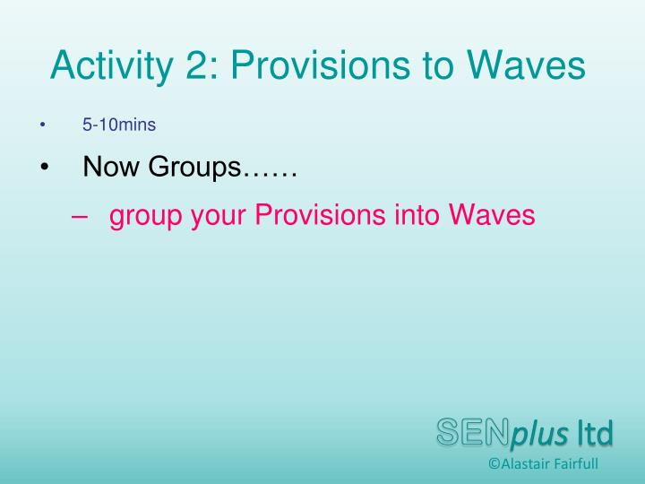 Activity 2: Provisions to Waves