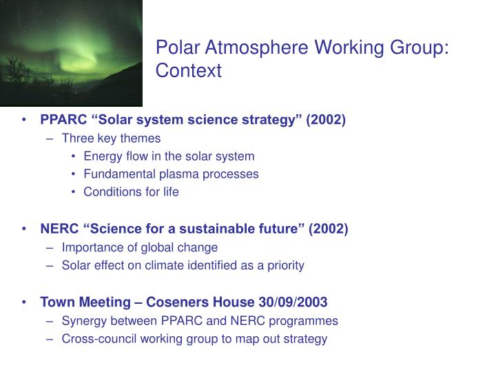 Polar atmosphere working group context