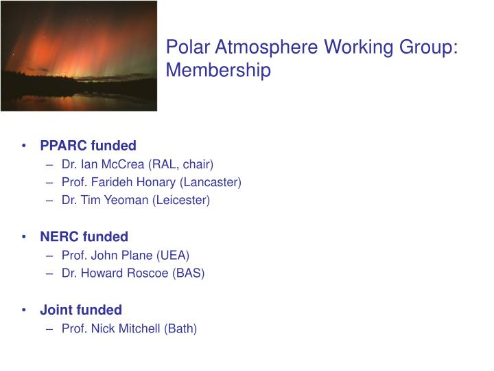 Polar atmosphere working group membership