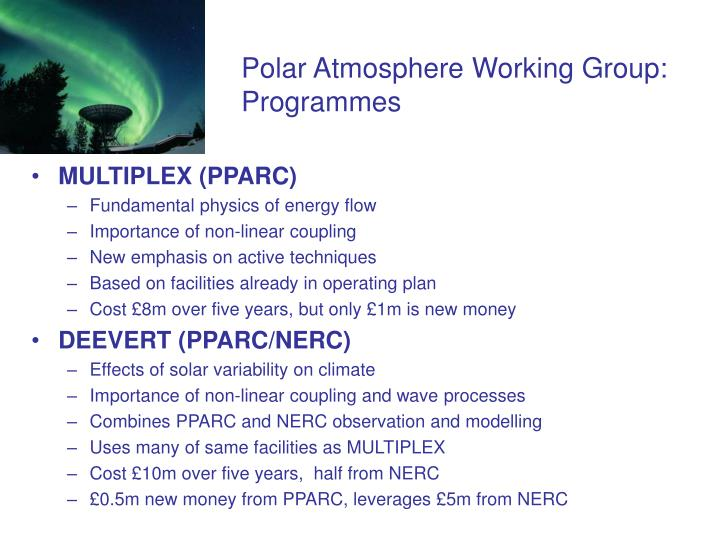 Polar Atmosphere Working Group:  Programmes