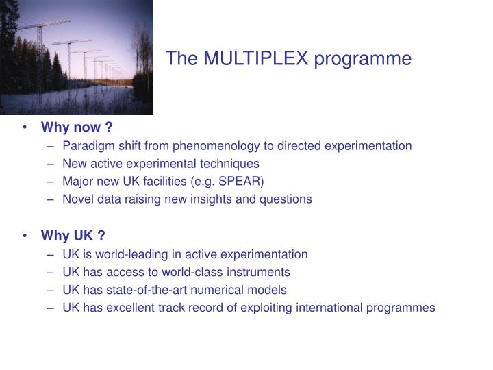 The MULTIPLEX programme