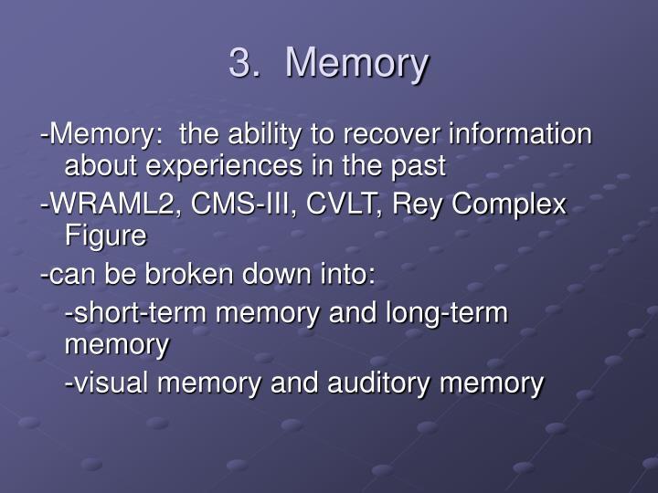 3.  Memory