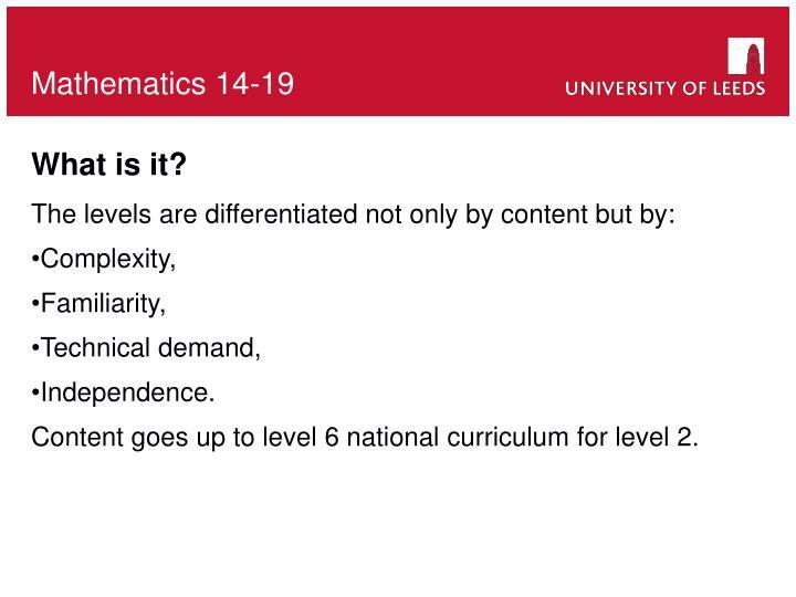 Mathematics 14-19