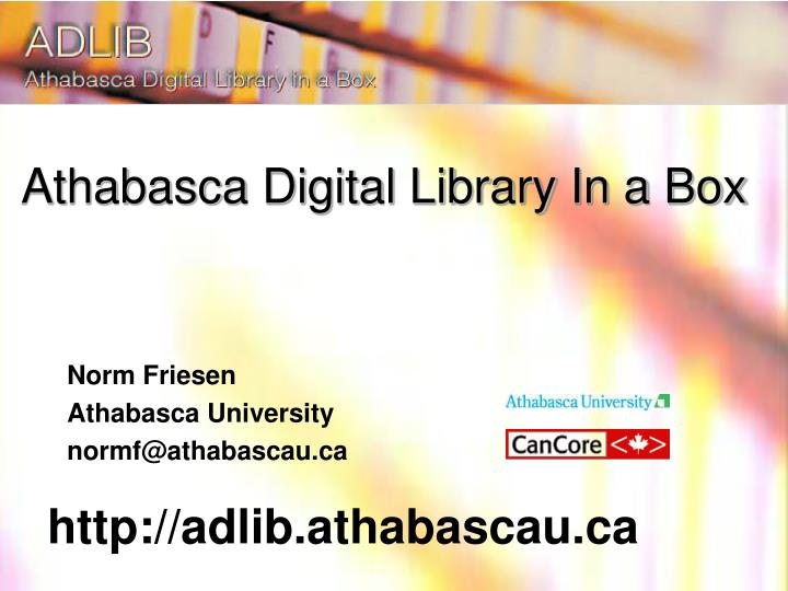 Athabasca Digital Library In a Box