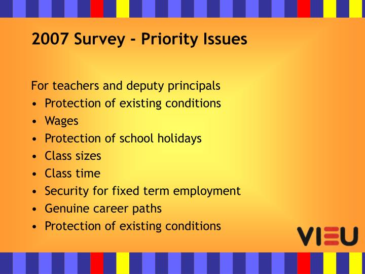 2007 survey priority issues