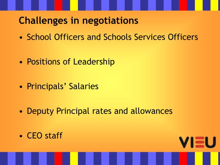 Challenges in negotiations