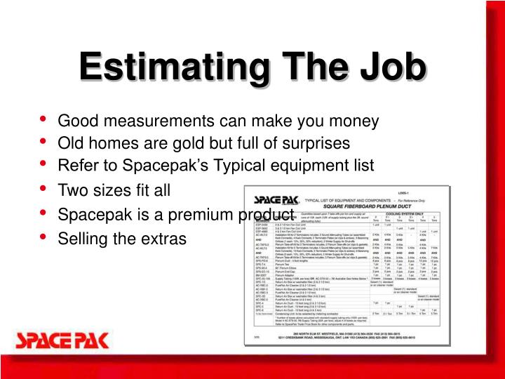 Estimating The Job