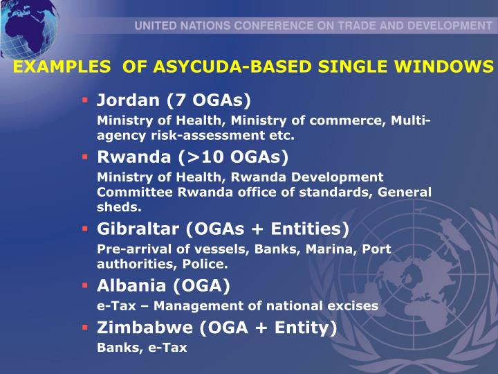 EXAMPLES  OF ASYCUDA-BASED SINGLE WINDOWS