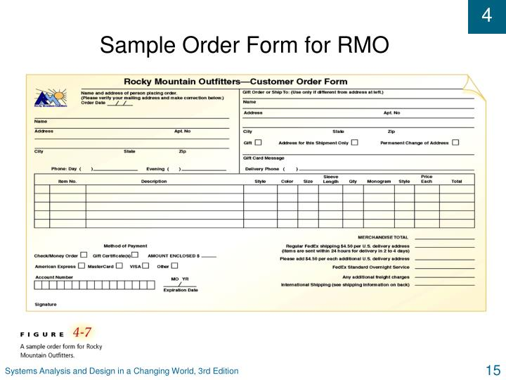 Sample Order Form for RMO