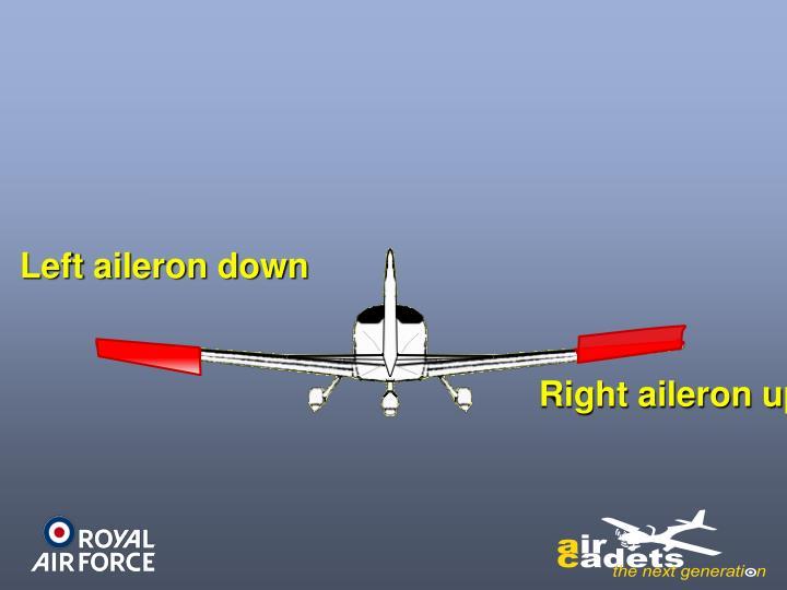 Left aileron down