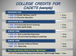 college credits for cadets sample