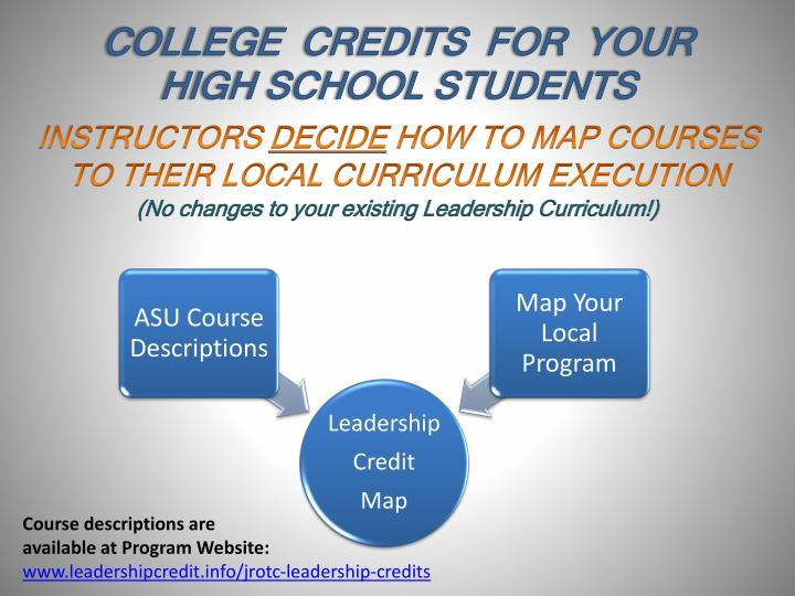 COLLEGE  CREDITS  FOR  YOUR  HIGH SCHOOL STUDENTS