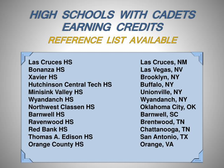 HIGH  SCHOOLS  WITH  CADETS  EARNING  CREDITS