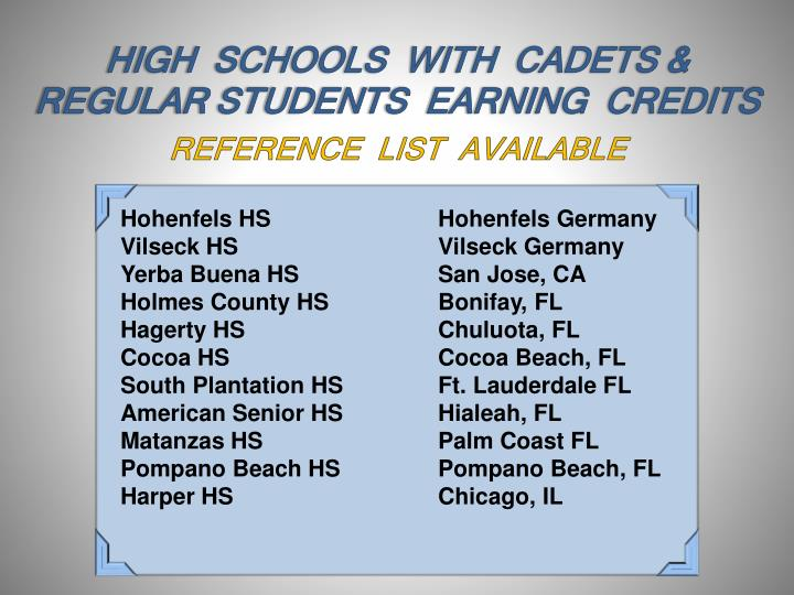 HIGH  SCHOOLS  WITH  CADETS & REGULAR STUDENTS  EARNING  CREDITS