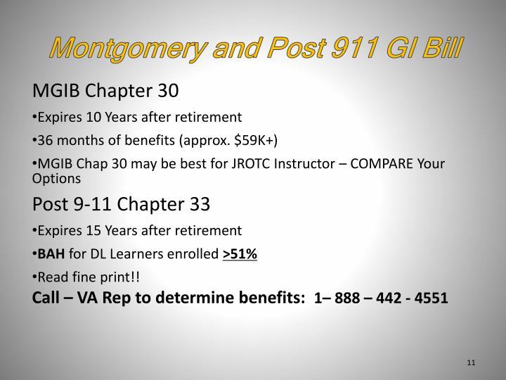 Montgomery and Post 911 GI Bill