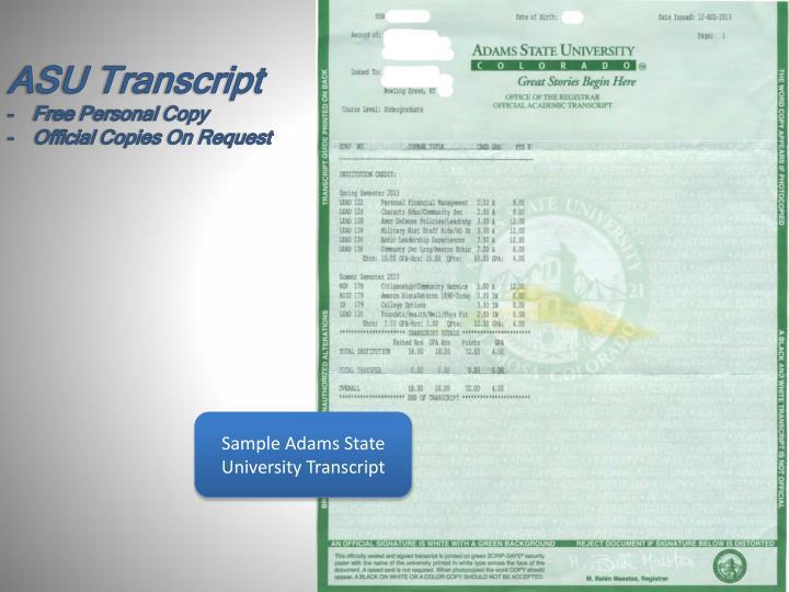 ASU Transcript