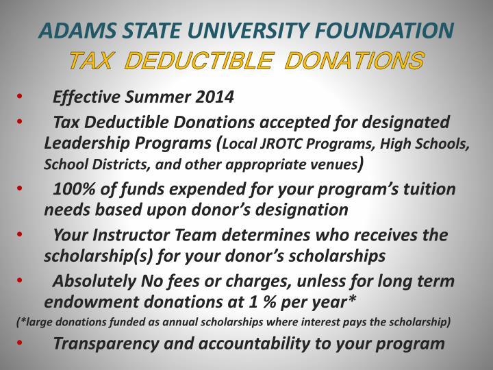 ADAMS STATE UNIVERSITY FOUNDATION