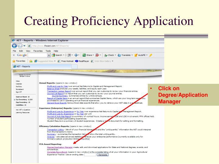 Creating Proficiency Application