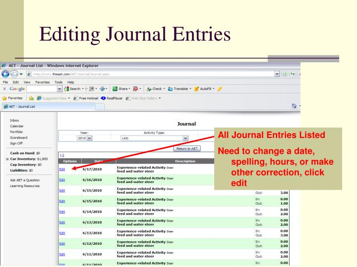Editing Journal Entries