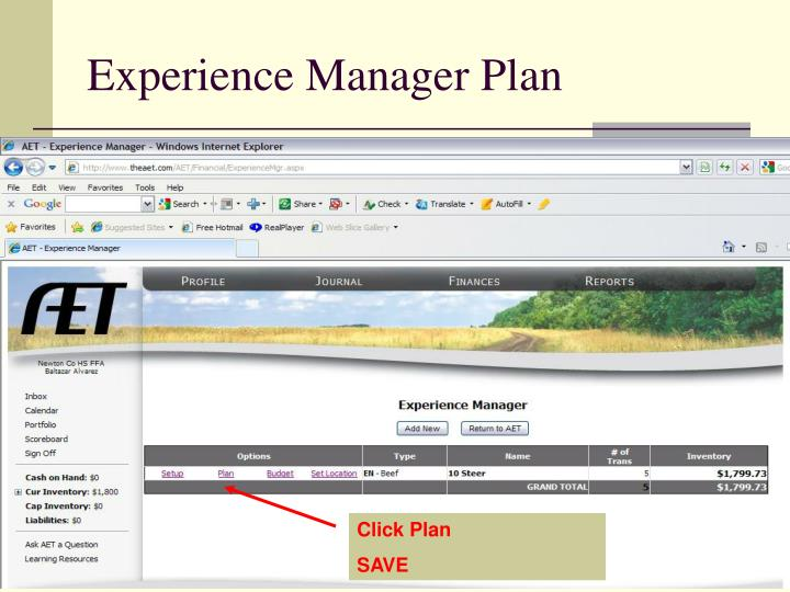 Experience Manager Plan