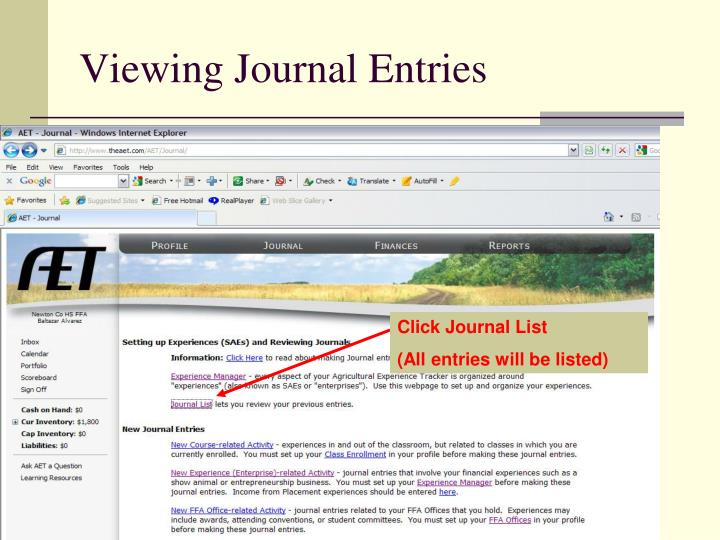 Viewing Journal Entries