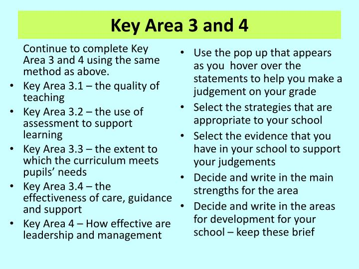 Continue to complete Key Area 3 and 4 using the same method as above.