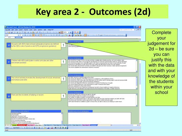 Key area 2 -  Outcomes (2d)