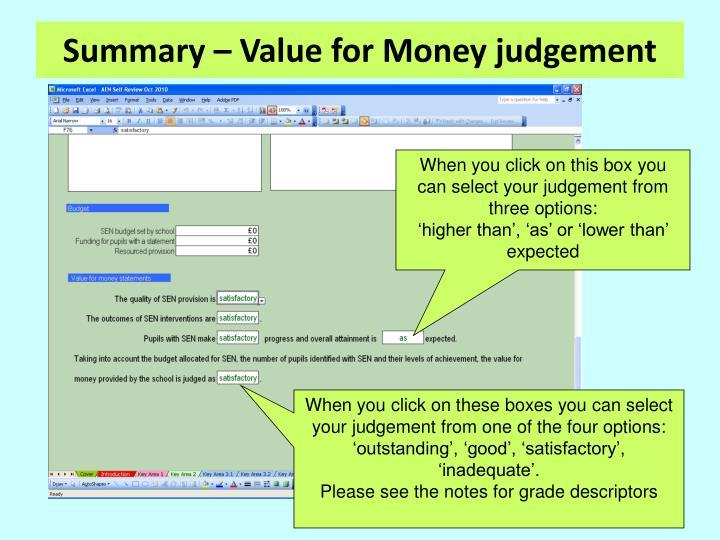 Summary – Value for Money judgement