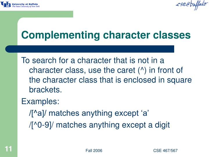 Complementing character classes