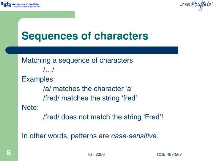 Sequences of characters
