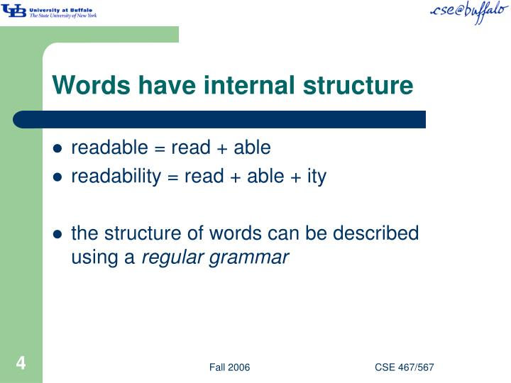 Words have internal structure