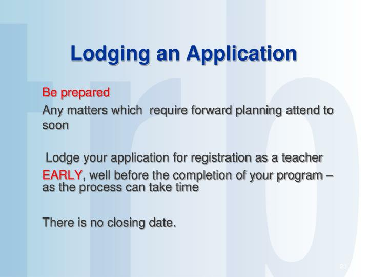 Lodging an Application