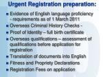 urgent registration preparation